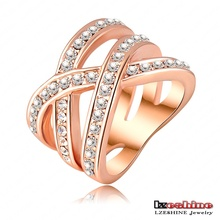Double Cross Ring Trendy Ring Platinum Plated Genuine SWA Elements Austrian Crystals Womens Rings Fashion Jewelry Ri-HQ0120-b