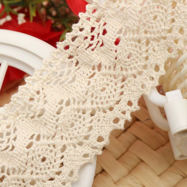 Hot Beige Cotton Net Lace Trim Applique Crochet DIY Embroidered Ed-ge Trims Wedding Sewing Decorative Ribbon(China (Mainland))