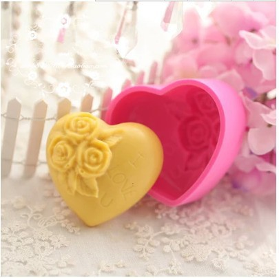 Heart-shaped Rose LOVE Silicone Cake Chocolate Soap Pudding Jelly Candy Ice Cookie Biscuit Mold Mould Pan Bakeware xj239 - duanduan yu's store