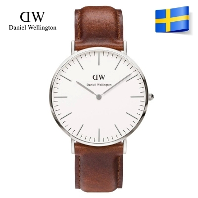 daniel wellington silver leather strap classic quartz / top brand luxury dw watch / men plastic nylon watchband + free shipping(China (Mainland))