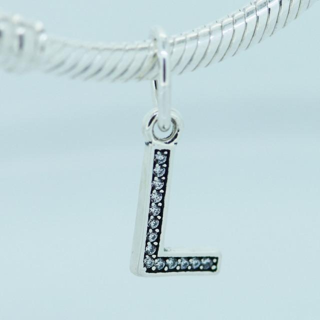 Подходит пандоры подвески браслеты подлинная стерлингового серебра 925 бусины мотаться лаки письмо L с кристалл шарм DIY ювелирных изделий