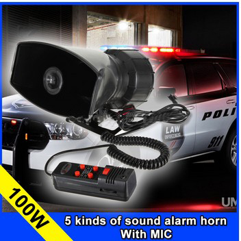 wholesale5 Tone Police horn alarm Siren 12v 100W Car motorcycle tape megaphone pa Speaker system+ Microphone(China (Mainland))