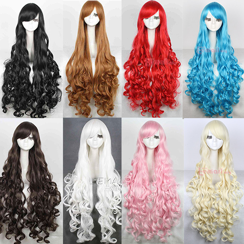 Free Shipping 100cm Synthetic Hair Long Curly White Blonde Pink Red Blue Brown Cosplay Wig(China (Mainland))