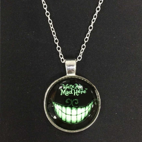 1PC Devil's Tooth Smile Cabochon Design Pendant Fluorescent in the Dark Necklace Glowing Silver Chain Jewelry Valentine's Gifts(China (Mainland))