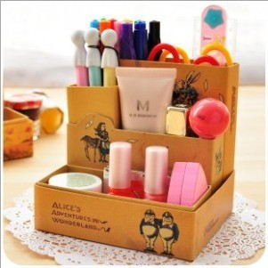 Paper DIY Desk Storage Box Desktop Makeup Cosmetic Container Organizer Bag Case Table sundries storage cosmetics finishing box