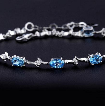 100% 18k gold plated 925 sterling silver mount natural Swiss Blue  8p4*6  topaz bracelets for women  fine  gemstone Jewelry<br><br>Aliexpress