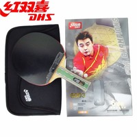 DHS Original 6-Star Table Tennis Racket (6003, 6007) with Rubber (Pips-in + Pips-long) + Bag Case Set Ping Pong Bat