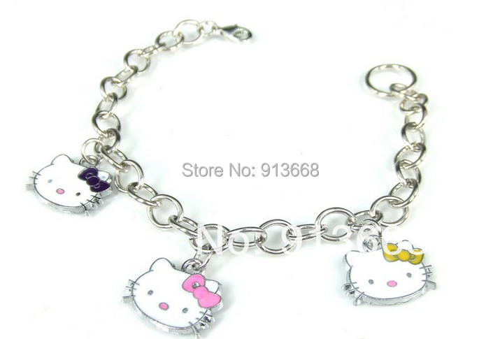 2015 Metal Chain,Pendant Bracelet with HELLO KITTY BR242 charm bracelet(China (Mainland))