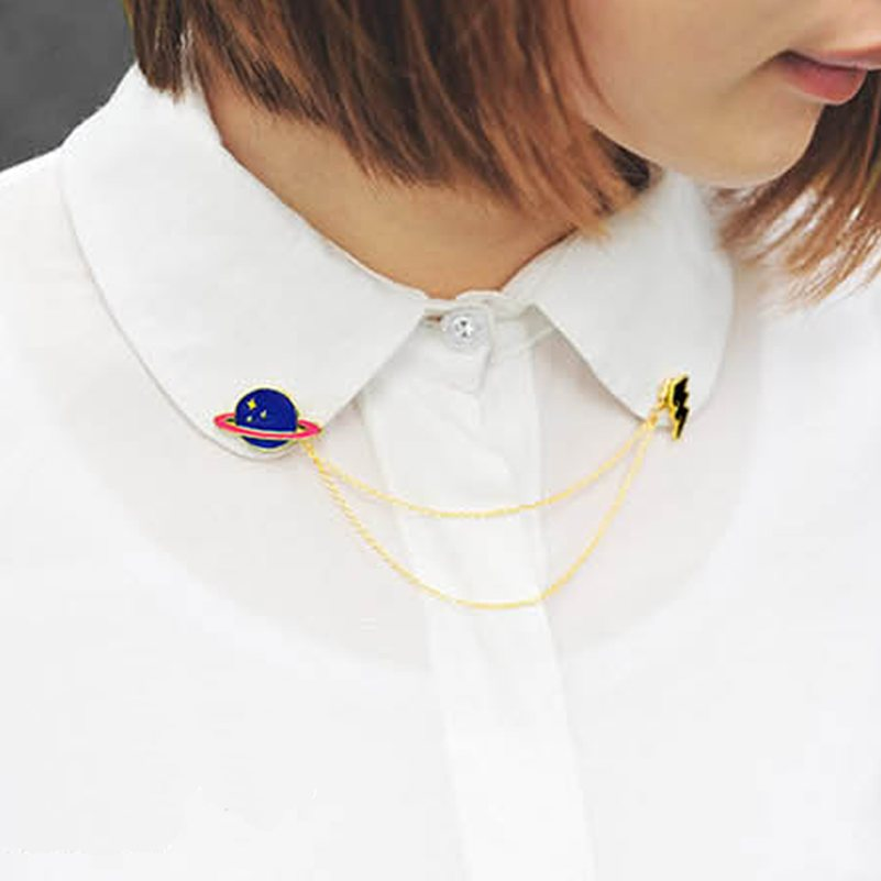 Brooch Badge 2015 Hot Alloy Fashion Creative Saturn Planet Chain Brooch Exaggerated Collar Pin Brooches For Women Girl New(China (Mainland))