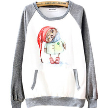 Direct selling Christmas owl Europe and the United States long sleeve head wind fleece fleece jacket MP154(China (Mainland))