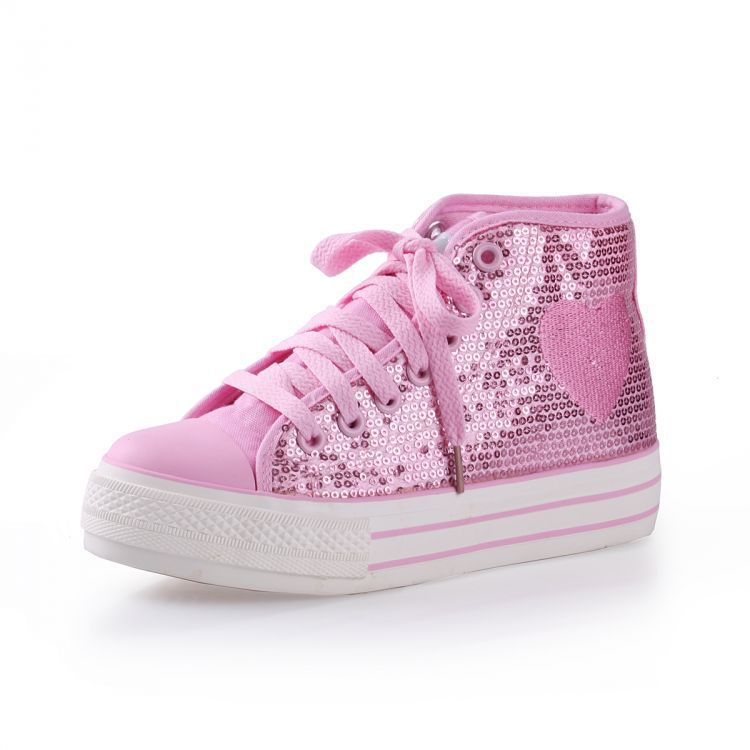 Spring 2014 new European Round lace high-top shoes flash chip lace bottomed canvas shoes female sports shoes(China (Mainland))