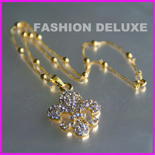 10pcs free ship new style fashion gold tiny chain necklace charm crystal dhinestone fleur de lis pendant necklace (China (Mainland))