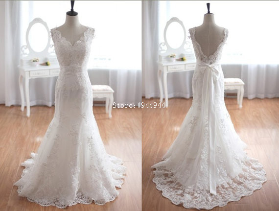 Real Picture Mermaid V-neck Cap Sleeve Real Picture Lace Overlay Court Train Bow Customized Alibaba Wedding Dress(China (Mainland))