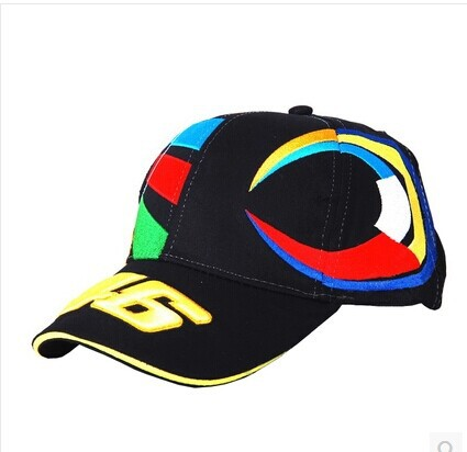 Black yellow 3D embroideried VR 46 Rossi baseball cap MOTO GP racing motorcycle rider team cap leisure sport adjustable caps(China (Mainland))