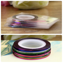 10 X Striping Tape Line Nail Art Tips Design Decoration Sticker decals Free Shipping