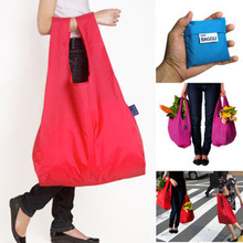 Wholesale Eco-friendly polyester shopping bag solid folding portable creative storage bag 33*57cm,#051402(China (Mainland))