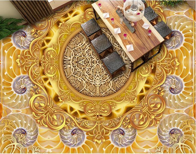 3d pavimenti in 3d Personalizzato pavimento in pvc impermeabile di lusso Europeo oro carta da parati pvc adesivo pavimento di piastrelle(China (Mainland))