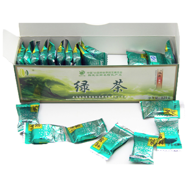 China Sheng Organic Green Tea Blocks 125g 42pcs Square Shape Slimming Green Tea Healthy Tea Green