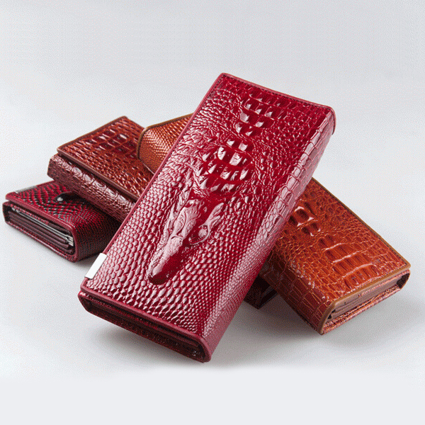 2014 New Genuine good leather women wallets Crocodile 3D purse fashion leather wallets hot selling(China (Mainland))
