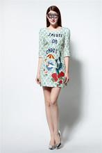 kiccoly Women dress runway dress fashion brand summer dress robe Jacquard material printing dress family matching outfits maxi