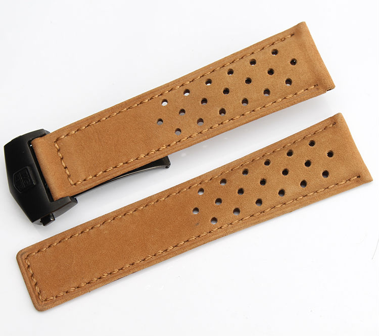 Watch band 22mm New High Quality Yellow brown Genuine Leather Watch Band Strap Blac metal Clasp Buckle<br>