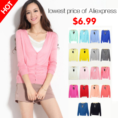 18Colors 2015 New Spring Solid Casual Women Sweaters Fashion V-neck Full Sleeve Women Knitwear Cardigans Women Coat pull femme(China (Mainland))