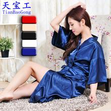 Robe emulation silk pajamas women with summer sleep pure color silk bathrobe kimono cardigan large size XXL(China (Mainland))