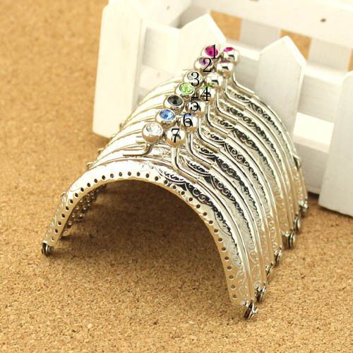 Free Shipping / 7 color /8.5CM Crystal Rhinestone Silver Metal Purse Frame Completed Holes / Wholesale(China (Mainland))
