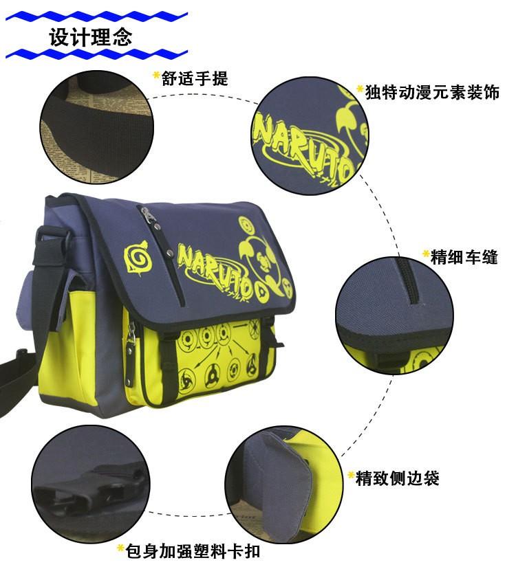 Naruto Messenger Crossbody Bag Japan Anime Naruto Uzumaki Cosplay Canvas Shoulders Bag Unisex Students School Bag