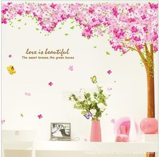 Big discount cherry trees tickers New listing pink Wall stickers Free shipping(China (Mainland))