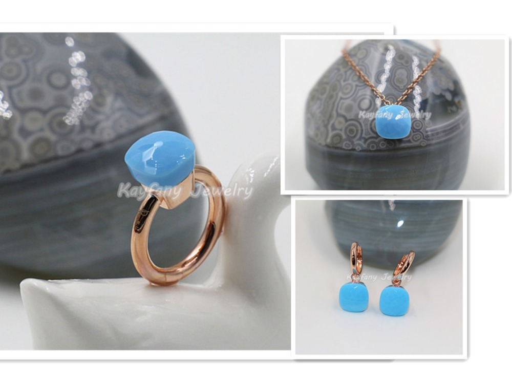 2015 Fashion Rose Gold Jewelry Best Sale Pomellato New Style Turquoise Ring Sets Women Party