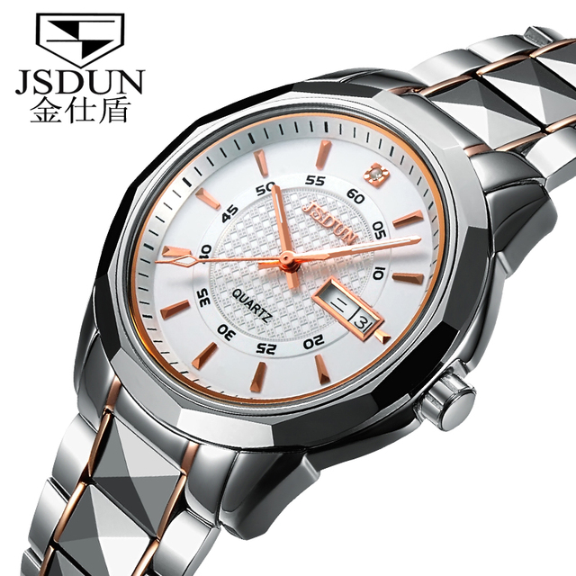 JSDUN male tungsten steel watch mechanical  wristwatch ultra-thin male watch waterproofself-winding watches 8014