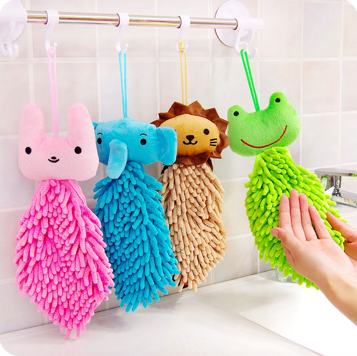 Cute Cantoon Animal Clothing Cloths Chenille Scouring Pads Square Multipurpose Kitchen Towel Hanging Cleaning Rags 4 Colors(China (Mainland))
