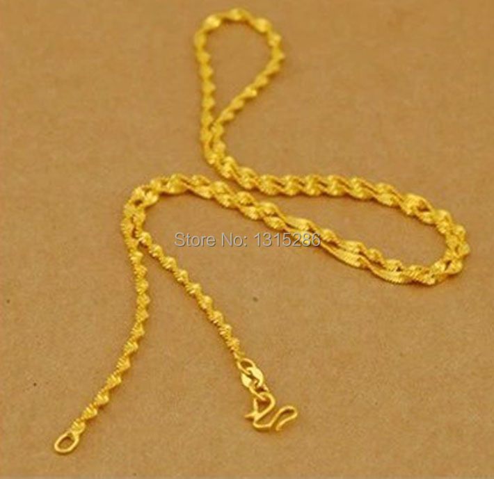 Water wave necklace chain women solid 24k yellow gold for Cheap gold jewelry near me