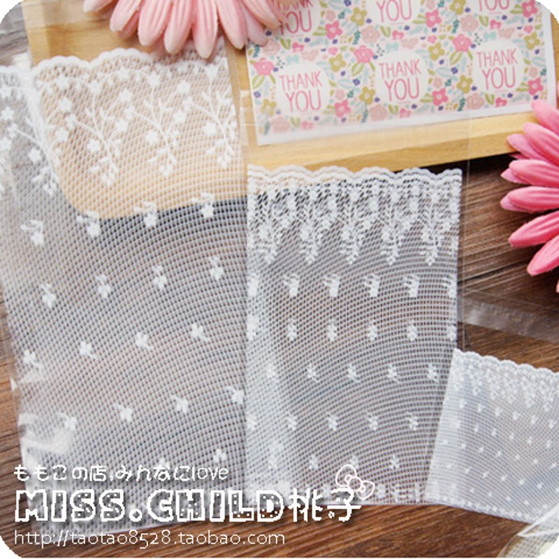 100pcs White Lace Self adhesive Seal OPP Cookie Baking Plastic Packaging Bag Wedding Decoration Gift and Candy Plastic Bag BZ001(China (Mainland))