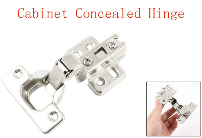 """1.3"""" Height Hardware Tool Metal Concealed Cabinet Hinge Silver Tone 2pcs(China (Mainland))"""