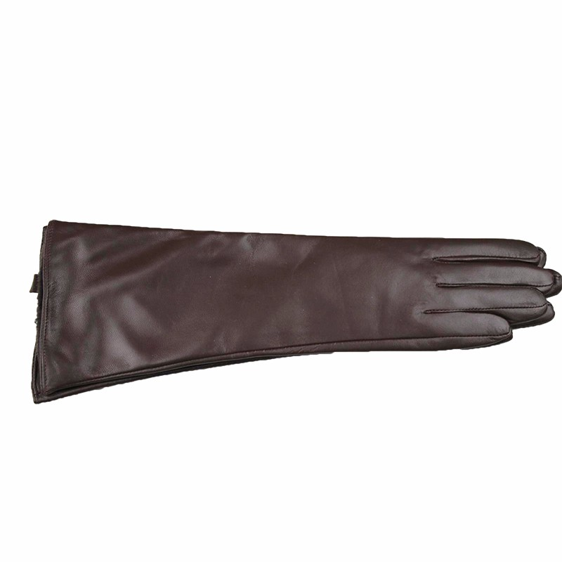 Long sheepskin gloves female 38 cm long division refers brown leather gloves thin cashmere armband warm jacket free shipping