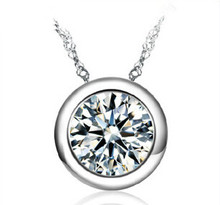 Lose money promotion hot sell shiny crystal round style 925 sterling silver ladies`pendant necklaces jewelry gift