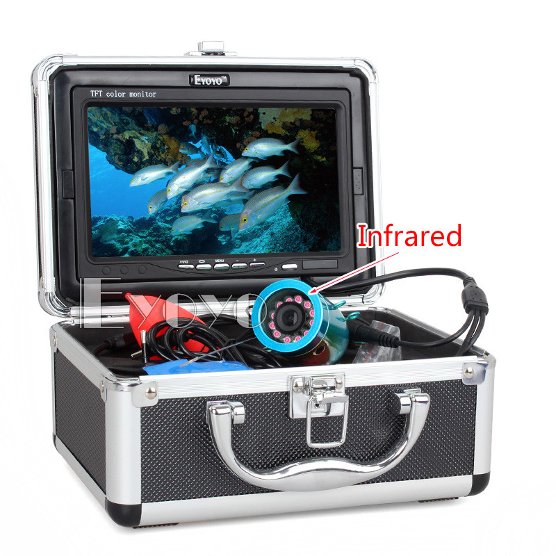 "Free Shipping!Eyoyo 30m Infared LED cam Fish Finder Underwater Fishing Video Camera 7"" Color HD Monitor 1000TVL HD CAM(China (Mainland))"