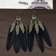2016 new fashion Vintage retro Bohemia drop earrings for women jewelry feather earrings ME2098(China (Mainland))
