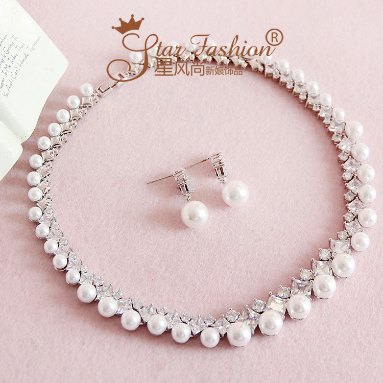 Bride zircon pearl rhinestone brief necklace chain sets marriage accessories wedding set accessories