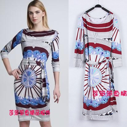 Free shipping 2014 women new mini dresses Simple Temperament Slim Stretch Printed knit Dress elagant dress With belt lady dresseÎäåæäà è àêñåññóàðû<br><br>