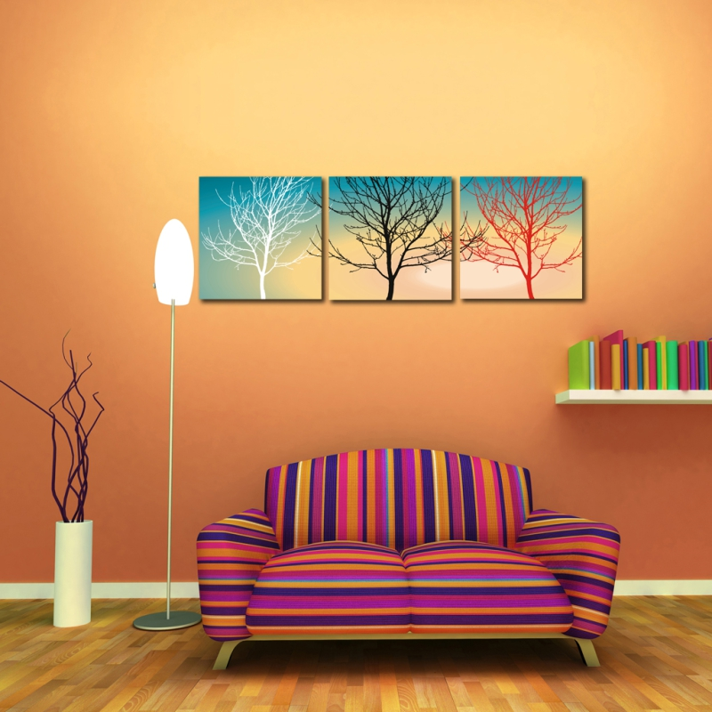 3 panels combination painting white black and red three for Black and white tree mural