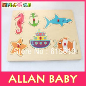 Free Shipping Wooden Educational Toy Marine Animals Puzzle with Handles PT014