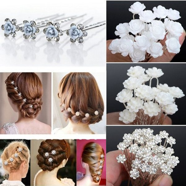 NEW 20 40pcs Lots Wedding Bridal Crystal Faux Pearl Flower Shiny Hair Spins Pins Flower Hair