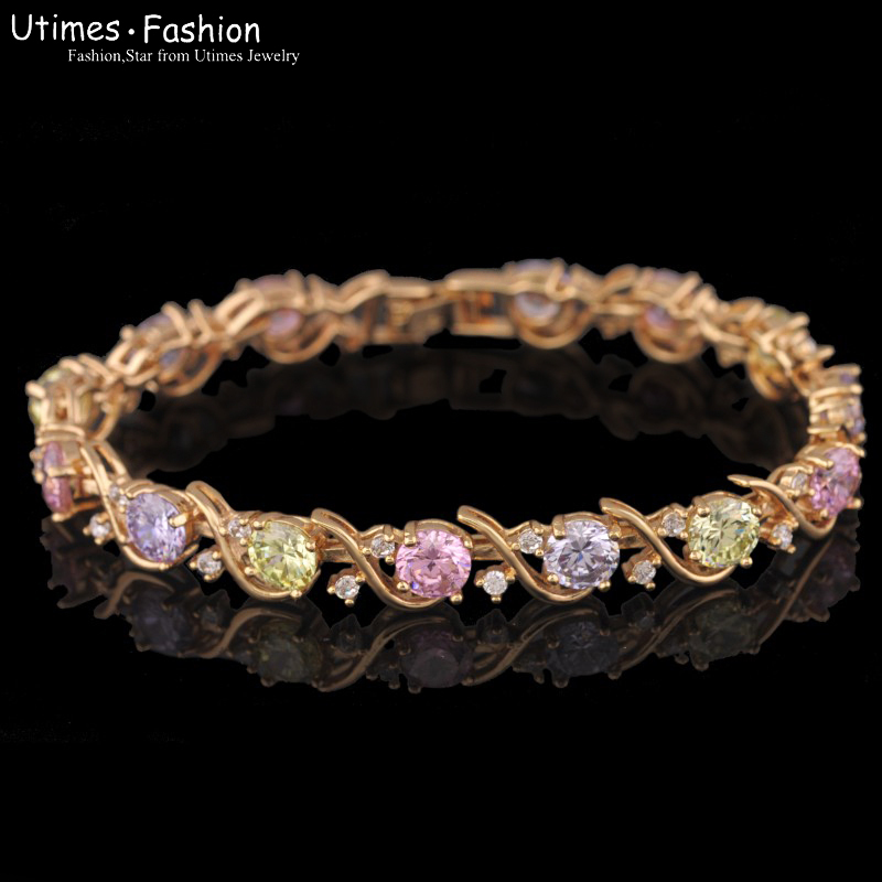 18k Gold Plated Chain Bracelets For Women Multicolor/Clear AAA+ Zircon For Wholesale Price(China (Mainland))