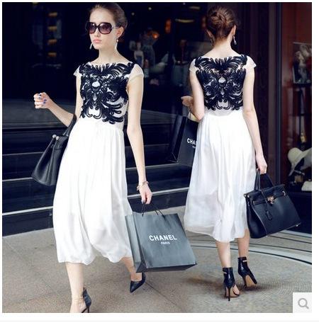 Summer Modern Discoid Flowers Chiffon Dress Slash Neck White Black Midi Party Dresses Brand Designer Mesh Sexy Wear Sheinside(China (Mainland))