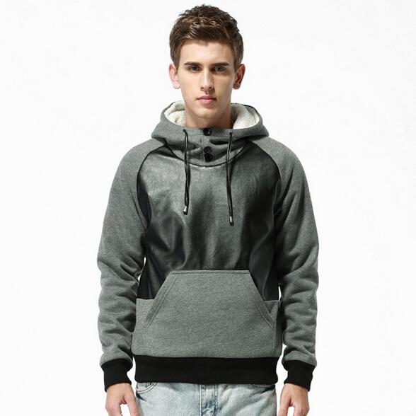 2015 Fashion Men Pullover Hoodies Warm Thicken Fleece Coat Tracksuits Sportswear Leather Patchwork Hoodie Sweatshirt 8M02379
