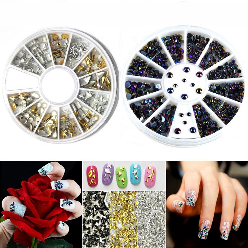 2PCS Round Wheel 3D Glitter Rhinestone Charms Decorations For Nails DIY Manicure Acrylic Crystal Nail Art Tips Decorations(China (Mainland))