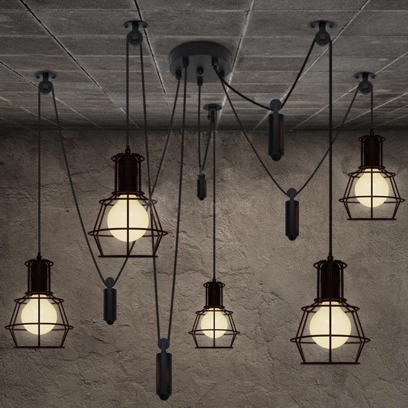 Vintage industrial nordic loft edison bulb chandelier retro ceiling spider pendants antique - Chandelier ceiling lamp ...
